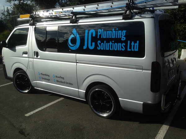 New sign writing on the work vans